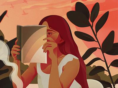Quiet Resolve pentadeca sunset woman reading digital art illustration