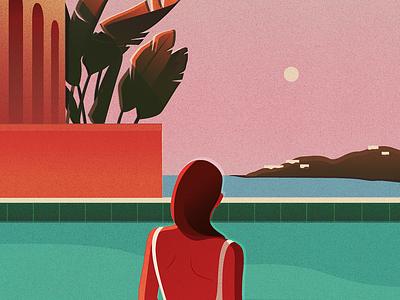 Ambivalence pentadeca woman pool summer digital art illustration