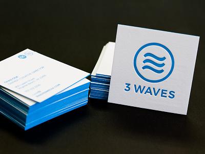3 Waves Business Cards print logo branding square letterpress design business card