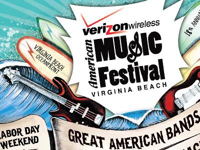 Rock n' Roll at the beach illustration poster design logo design hand drawn