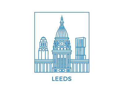 Leeds montserrat ls1 yorkshire skyline urban geometry illustrator leeds town hall blue vector line art leeds