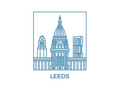 Leeds montserrat ls1 yorkshire skyline urban geometry illustrator leeds town hall blue vector line art leeds