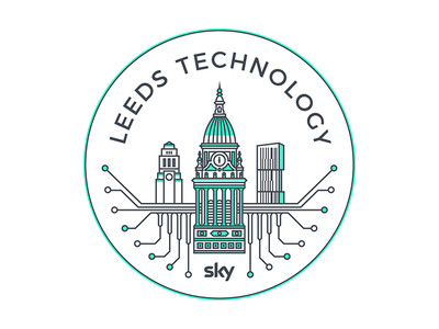 Leeds Technology Meetup sticker yorkshire vector urban skyline ls1 line art leeds town hall leeds illustrator geometry green