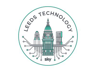 Leeds Technology Meetup sticker yorkshire vector urban skyline ls1 line art leeds town hall leeds illustrator geometry green