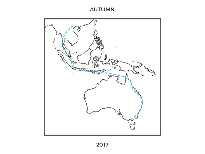 Autumn in Australasia accent australia travel typography line art route map