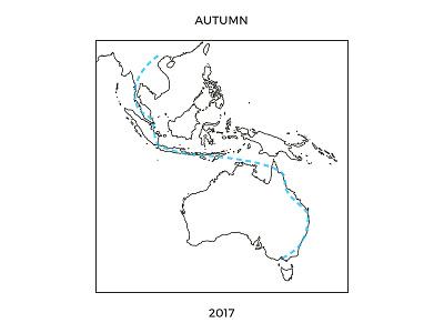 Autumn in Australasia accent australia travel typography line art route map