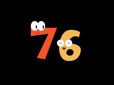 Digit 76 practice cartoon number digit 76