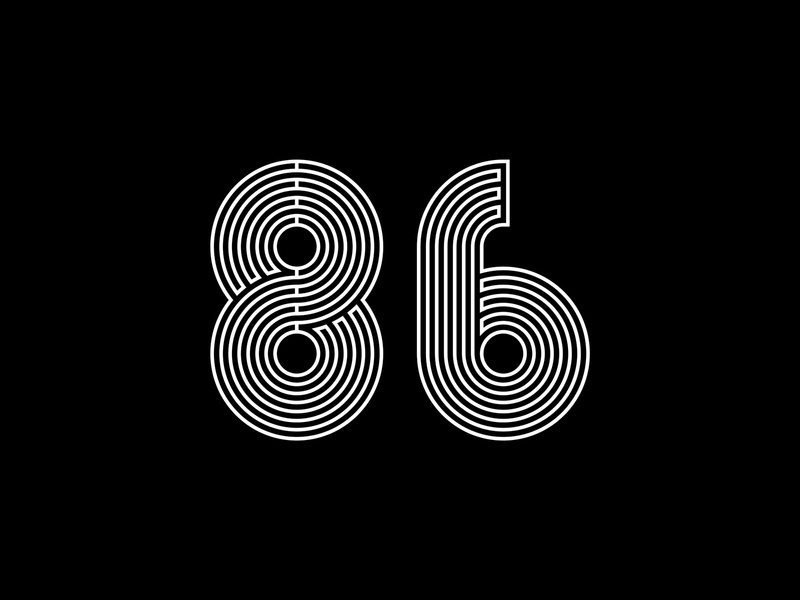 Digit 86 lines bw number digit 86