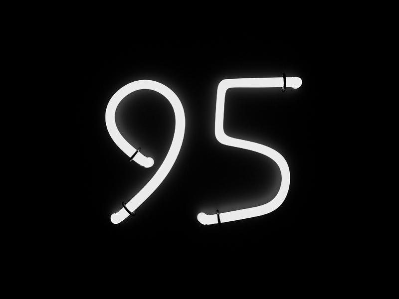 Digit 95 practice 3d neon number digit 95