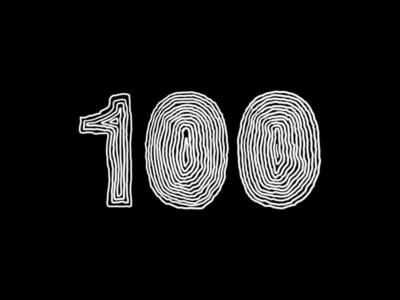 Digit 100 bw draw pracice number digit 100