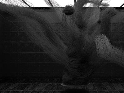 Fig. 32 Room: Alien form bw room abstract art practice model modo render 3d