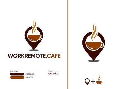 Online Coffee Shop Logo hot coffee location pin location coffee cup brand design adobe illustrator logomark creative flat minimal unique design logodesign logo coffeeshop coffee