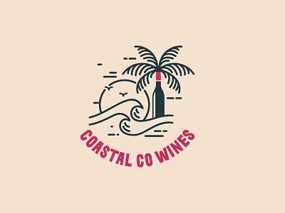 """COASTAL CO WINES"" Wine Company Logo Design branding modern logo organic logo wine logo creative logo design minimal"