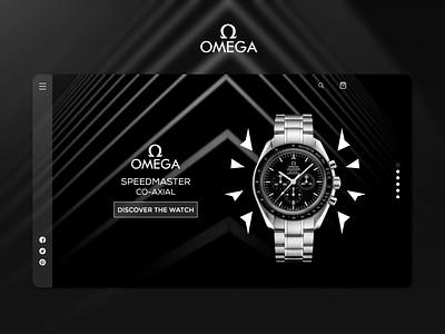 Omega Co-Axial Landing Page adobe xd luxury hero page hero section watch logo flat design minimal landing page ui