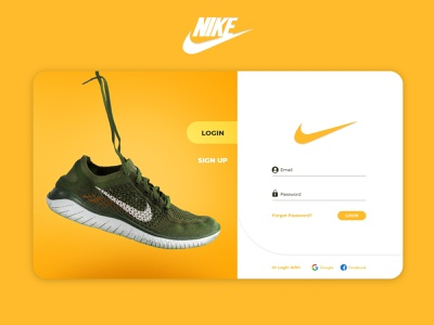 Nike Login Page Design Concept (Yellow) yellow creative concept redesign user experience website nike adobe xd vector design minimal user interface uiux ui landing page login page