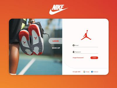 Nike Login Page Design Concept (Orange) jordan shoe nike orange adobe xd vector unique innovative redesign concept design user interface user experience sign in sign up loginpage uiux ui