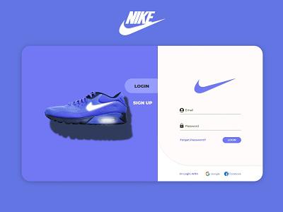 Nike Login Page Design Concept (Purple) webpage adobe xd sign in sign up login page nike purple minimal user interface user experience vector creative uiux graphic design ui
