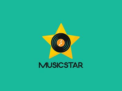 MusicStar Logo Design (for sale) flat graphic design 3d branding music star logo icon logotype logo design vector unique minimal logo