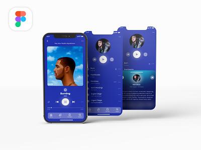 Music App UI Design playlist music app mobile interface app ios design audio player song music concept ux figma app design clean bold design minimal ui