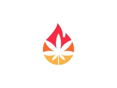 fire Cannabis logo symbol ignite simple leaf hot blaze fire cannabis logo