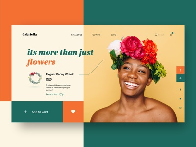 Flower Wreath landing page website flat minimal clean simple ux-ui cart landing page ui green wreath peony flowers