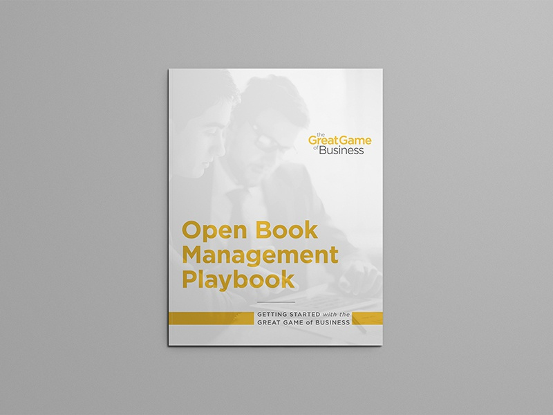 Great Game of Business | OBM Playbook hook creative great game of business brochure jim collins open book management
