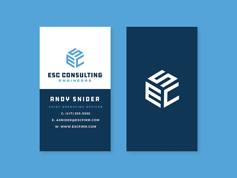 ESC Consulting Engineers business card stationery engineer identity brand logo