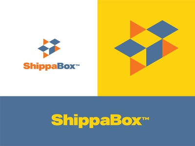 ShippaBox package direction arrow shape geometric box shipping box shipping logo