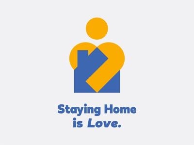 Staying Home is Love blue yellow house logo stay home arm head heart love human house coronavirus corona stayhome