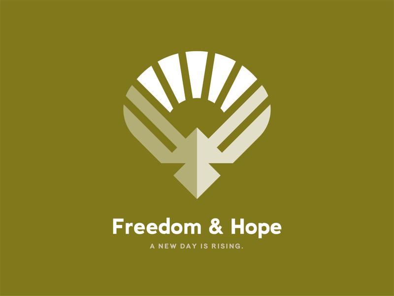 Freedom & Hope hope therapy upward rising sun free freedom newday wings sunshine rising sun dove bird logo