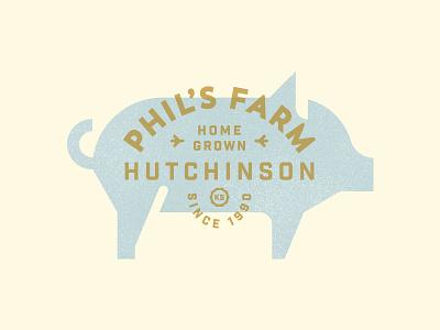 Phil's Farm blue gold type logo produce food pig farm