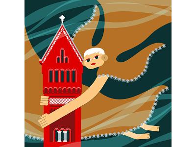 Mary adobe illustrator postcard vector illustration