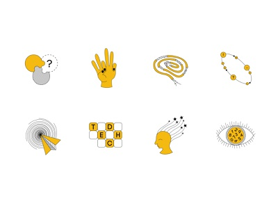 EdTech icons doodles icons icon set lines yellow design vector adobe illustrator