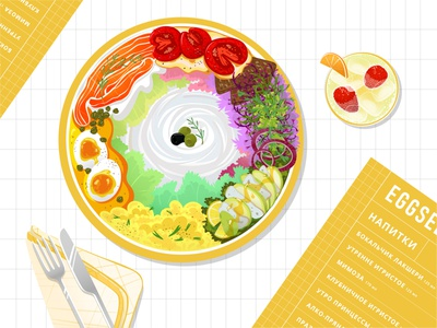 eggsellent menu flat view from above plate champagne eggsellent food postcard illustration vector adobe illustrator