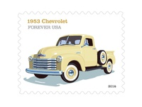 Lyons Dribbble USPS  '53 Chevrolet Pickup Truck Stamp