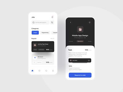 Joby App UI clean flat web website minimal app typography ux ui design