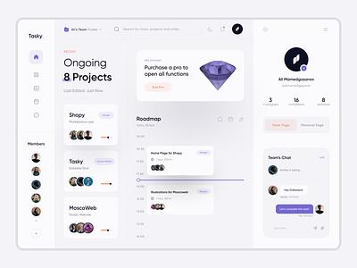 Tasky Dashboard UI   White Theme vector website web ux ui minimal flat design clean app
