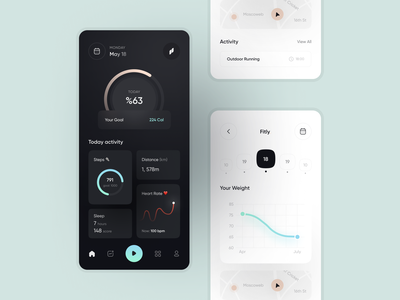 Fitly   App UI ux ui minimal design clean app