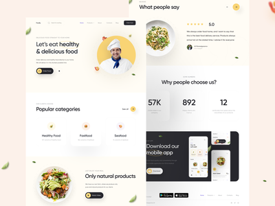 Foodly   Landing Page typography clean app website web ux ui
