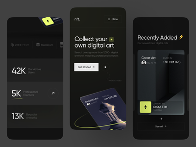 NFT Landing Page | Mobile Dark Theme ui minimal design clean app