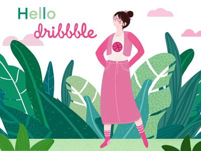 Hello Dribbble!! hello debut colorful green illustration art woman illustration figure illustration digitalart procreate design illustration hello dribbble first design first post firstshot