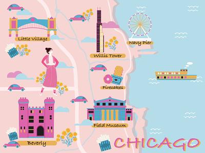 Chicago City Map flatillustration fun tourism travel citymap map chicago urban city illustration digitalart colorful