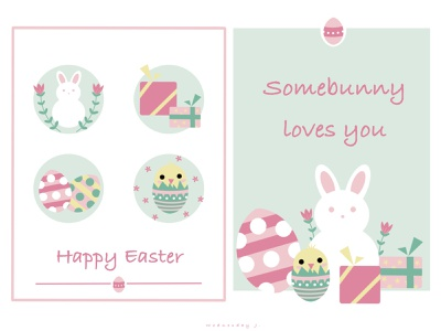 Happy Easter cute colorful design greetingcard easter eggs easter bunny holiday icons festival easter icon vector logo chicago digitalart