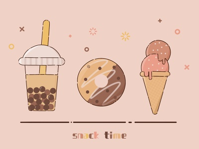 MBE Style Food and Drink icecreamcone teatime snack icon design sweets dessert foodie mbe style mbestyle mbe colorful cute illustration design icecream donut bubbletea icons icon digitalart