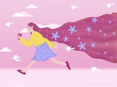 Coffee Break dtiys drawthisinyourstyle dtiy coffee lover pink flower girl illustration coffee colorful illustration digitalart