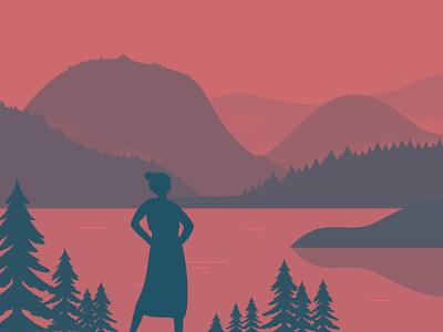 Landscape Illustration lake mountain nature colorful landscape illustration illustration digitalart