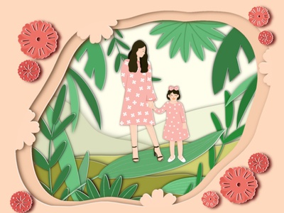 Paper Cut Style - I love you mom colorful illustration digitalart greens pink flower leaf plants green nature gift papercraft papercut woman kid daughter mom