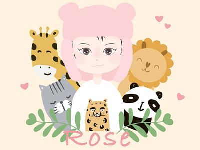 Girl Portrait for Rose giraffe lion leopard cat panda colorful cute animal doodle girlportrait portrait illustration digitalart