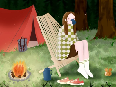 Solo Camping Trip alone time trees backpack tent forest animals converse forest campfire camping solotrip cute coffee procreate green colorful illustration digitalart