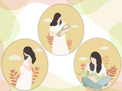 Motherhood vector art yellow procreate motherhood singlemom love family baby mother breastfeeding pregnancy vector colorful illustration digitalart